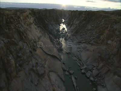 Aerial over hills and river, Augrabies. Augrabies Falls Northern Cape South Africa