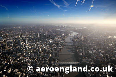aerial photograph of the River Thames & City of  London st dawn UK
