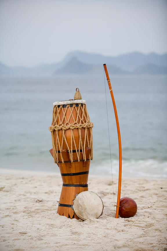 A atabaque (drum) and berimbau used in Capoeira