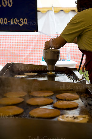 Cooking pancakes on a hot griddle