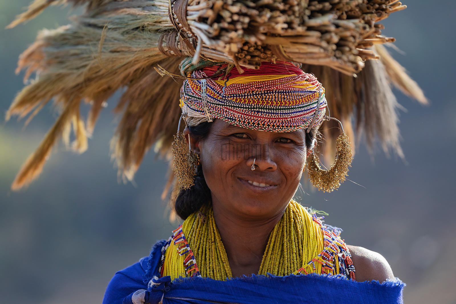 Portrait of a Woman from the Bonda Tribe Carrying Brooms to be Sold at a Market