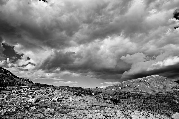 STORMY CLOUDS HIGH TUNDRA OLD FALL RIVER ROAD ROCKY MOUNTAIN NATIONAL PARK COLORADO BLACK AND WHITE