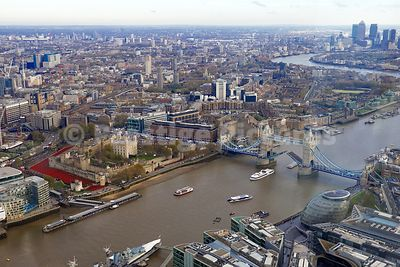 High Shot over City of London as all Boats stop on the River for the Act of Remembrance at 11am on  11th November 2014