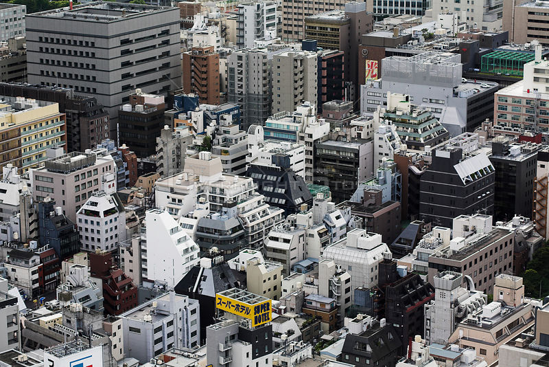 Aerial view of Ginza, Tokyo, Japan