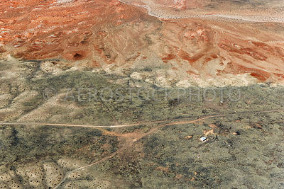 Erosional landscape near Box Spring, in the top left  we see the Little Colorado River,  Painted Desert, Navajo Nation,  Ariz...