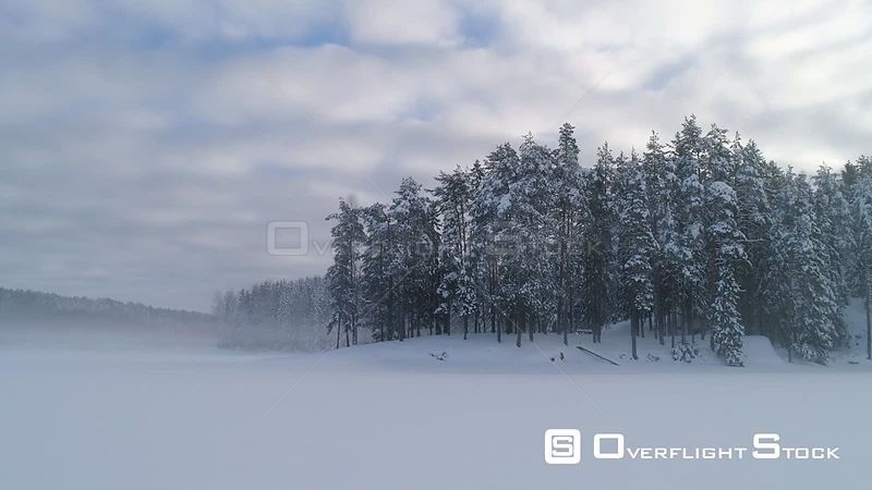 Aerial shot of mist over a coniferous forest in winter, Langen Lake, Akershus, Norway, January 2018.