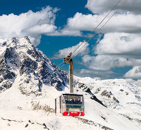 Cable car and view on Aiguille du Midi; Chamonix, haute-Savoie, France