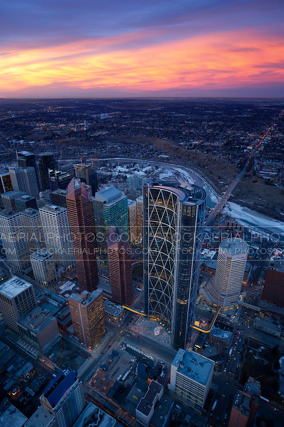 Bow Building and Downtown Calgary at Sunset
