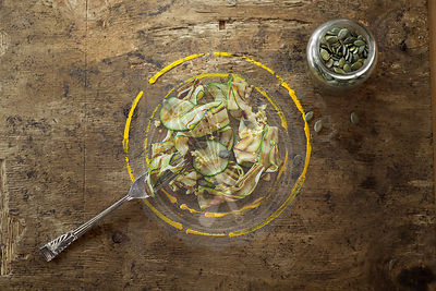 Courgette Ribbon Salad With Pumpkin Seeds.