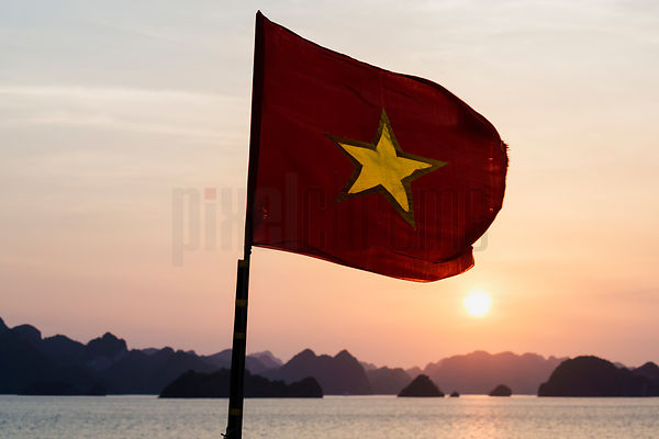 Vietnamese Flag on Boat in Halong Bay.