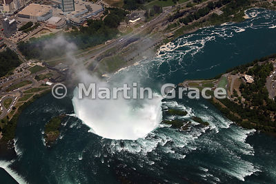 Canadian Horseshoe Falls from the south, from the air, Niagara Falls, Ontario, Canada