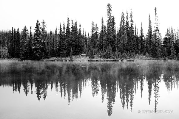 REFLECTION LAKE MOUNT RAINIER NATIONAL PARK WASHINGTON STATE BLACK AND WHITE