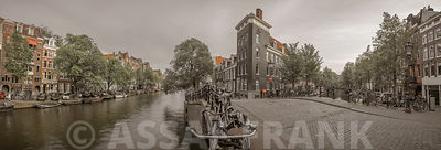 Canal through city, Amsterdam