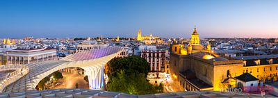 Panoramic of the city of Seville at dusk, Andalusia, Spain