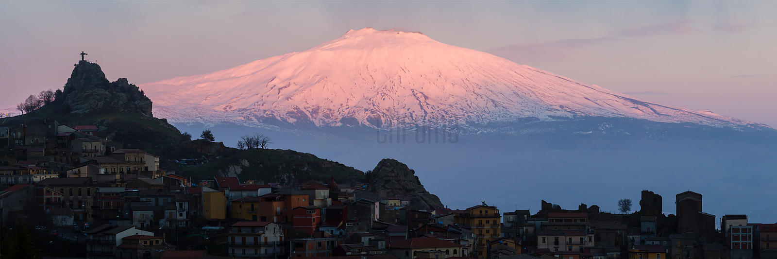 View of Mt Etna with the Town of Cesarò in the Foreground