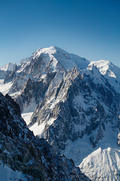 Chamonix needles and Mont Blanc