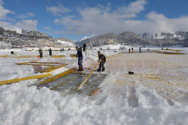Construction of die infrastructure for the Events Polo on snow and White Turf edition 2015