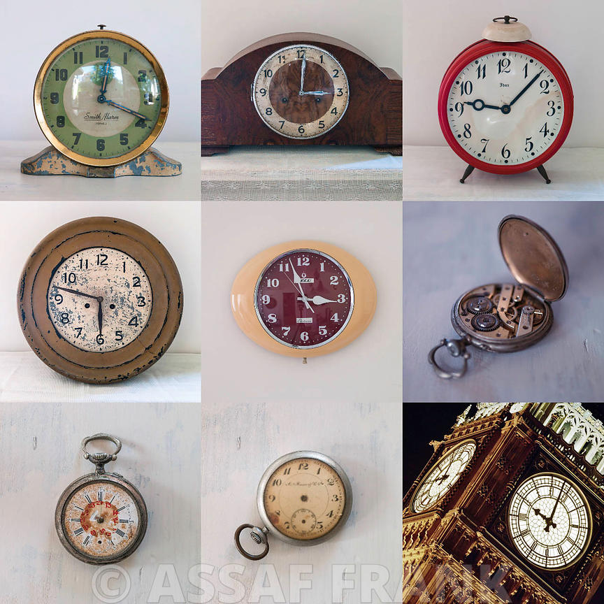 Collage of old clocks