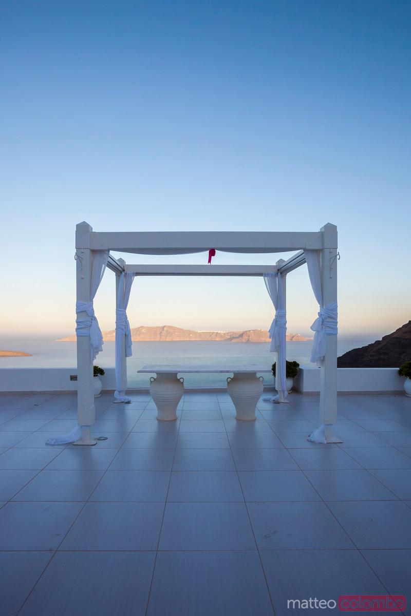 Gazebo for outdoor weddings, Santorini, Greece
