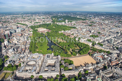 Aerial view of London, Horse Guards Parade and Whitehall.