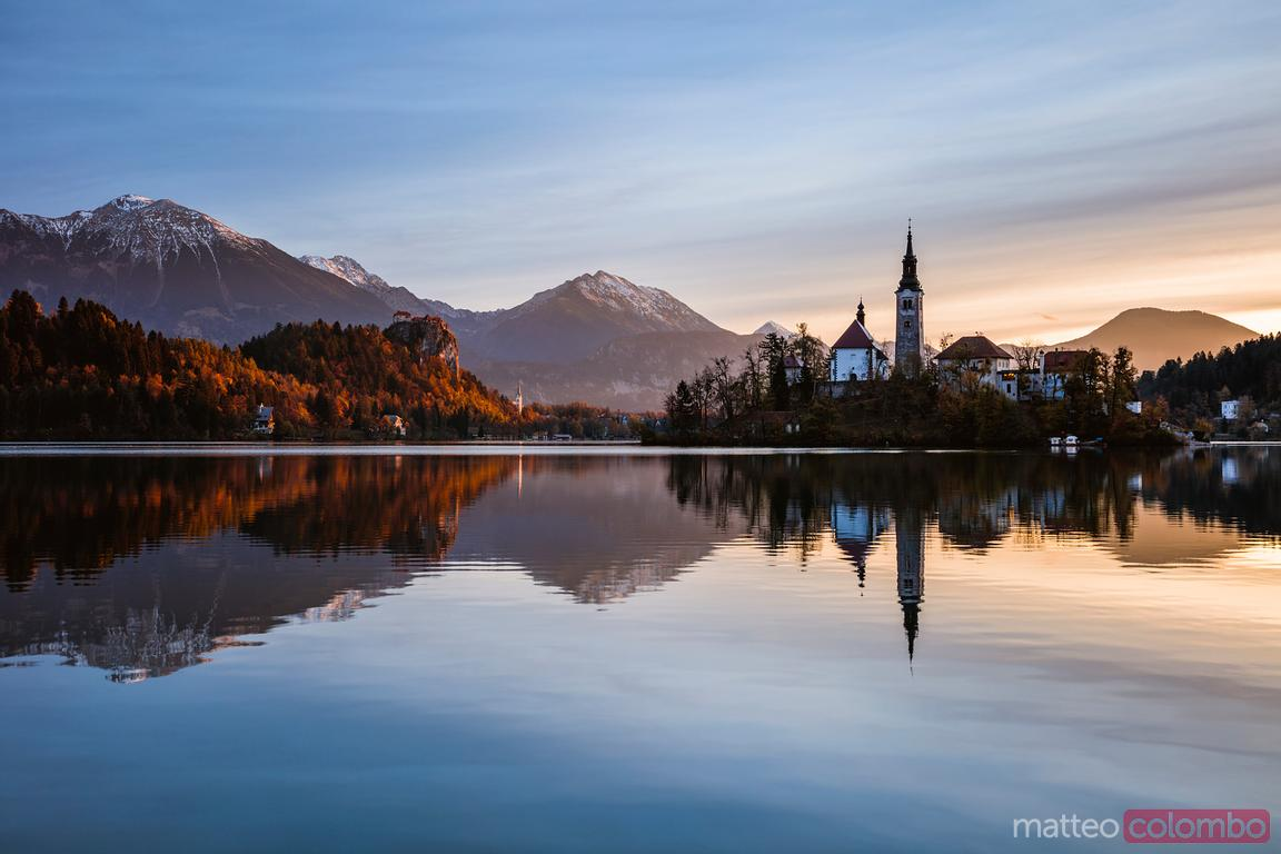 Bled lake at sunrise, Upper Carniola, Slovenia