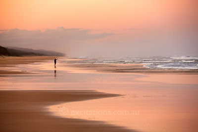 Fishing, Seventy Five Mile Beach, Fraser Island, Australia.