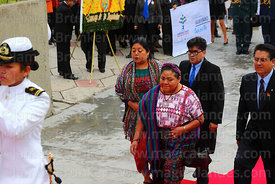 Guatemalan indigenous rights activist Rigoberta Menchú accompanies members of DIREMAR during official events for Dia del Mar ...