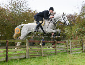 Tim Dobson-Seaton jumping a hunt jump at Thorpe Satchville - Quorn Hunt Opening Meet 2016