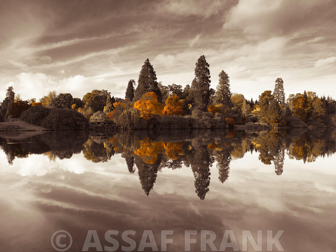 Autumn trees reflection by lake