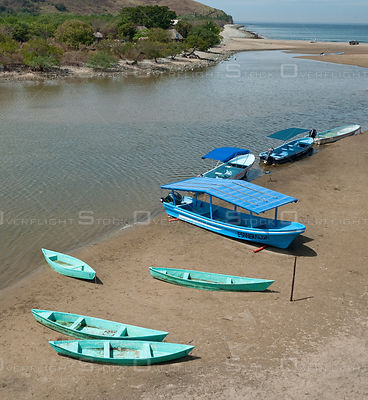 Beached boats at Barra de Potosi, Mexico.