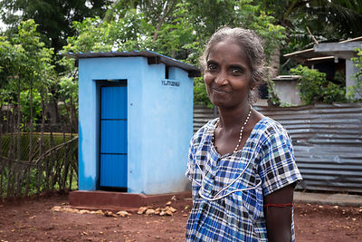 Varatharajan applied for a micro loan to build a toilet on her property which has given her and her children privacy and dign...