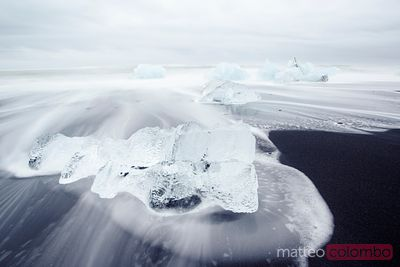Icebergs on black sand beach, Iceland