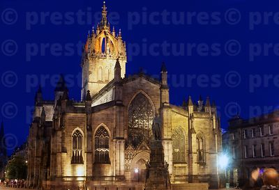 St Giles Cathedral Illuminated against a deep blue sky