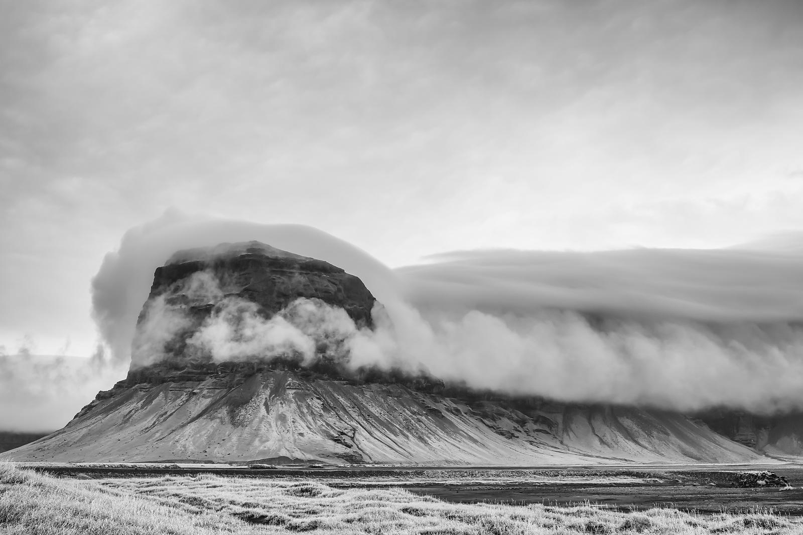 Black and white photo of Mount Lómagnúpur in southern Iceland.