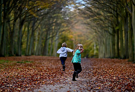 Young boy and girl playing in woodland in autumn Norfolk UK