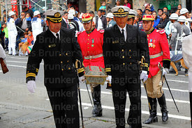 Navy officials carry the remains of Eduardo Abaroa to a platform for the military parades, Plaza Avaroa, La Paz, Bolivia