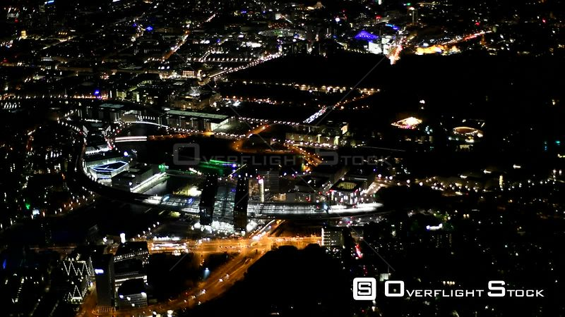 Night aerial video Cityscape on the bank of the river course of the river Spree in the districts Mitte and Tiergarten in Berlin, Germany