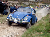 a VW Beetle steams up the steep Blue Hills section of Land's End Trials