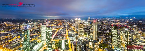 Financial district at night, Frankfurt, Germany