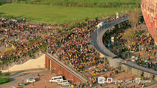 Aerial shot of a crowd of people outside FNB Stadium (Soccer City). Johannesburg Gauteng South Africa