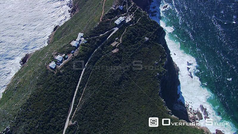Aerial shot of Cape Point and the sea. Cape Town Western Cape South Africa