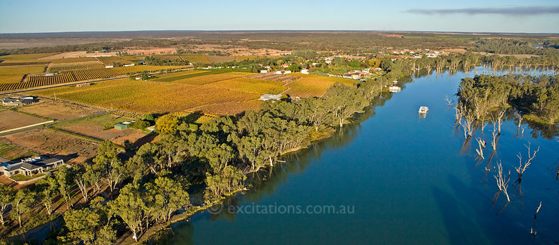 Aerial photo of The River Murray, Mildura, Australia.
