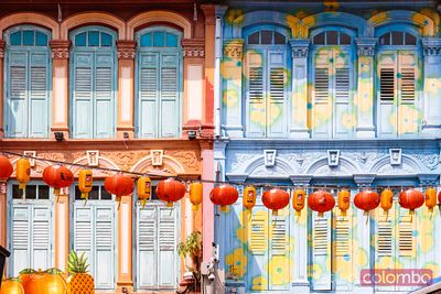Ornate facade of house in Chinatown, Singapore