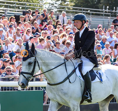 Richard Jones and ALFIES CLOVER, show prize giving, Land Rover Burghley Horse Trials 2018