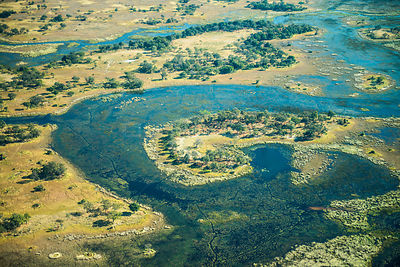 Aerial view of the Okavango Delta, Botswana.