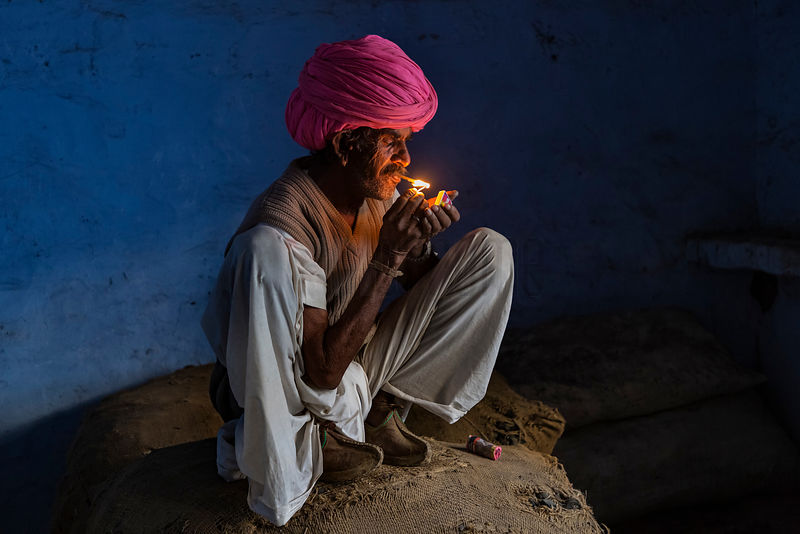 Portrait of a Rabari Smoking a Beedi