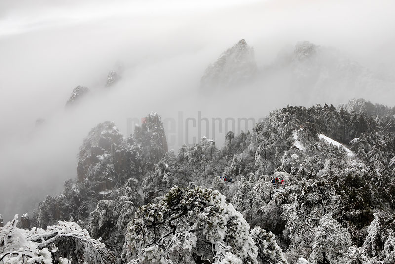 Elevated View of Viewpoints at Dawn at the Huangshan Mountains