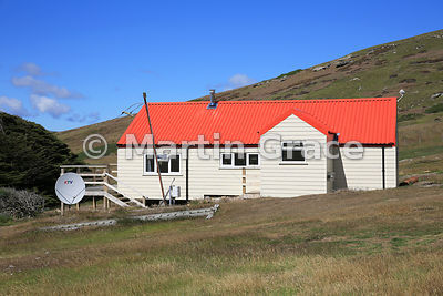 Modern building with satellite dish at Carcass Settlement, Carcass Island, Falkland Islands