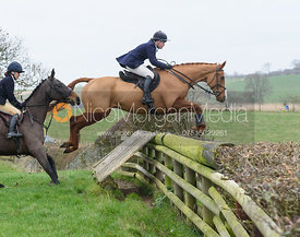 Meghan Healy Jumping a fence at Burrough House. The Cottesmore Hunt at Bleak House 18/12
