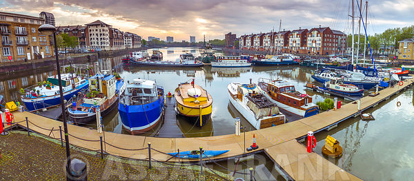 Boats moored at Greenland Dock, Surrey Quays